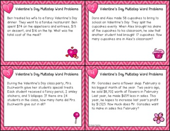 Valentine's Day Multistep Word Problem Task Cards (Grade 4)