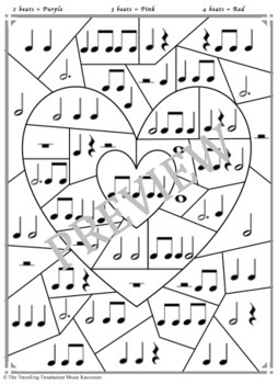 Music Activity - Valentine's Day Color by Rhythm - Now with 3 Designs!