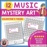 Valentine's Day Music Coloring Sheets:12 Music Coloring Pages: Music Mystery Art