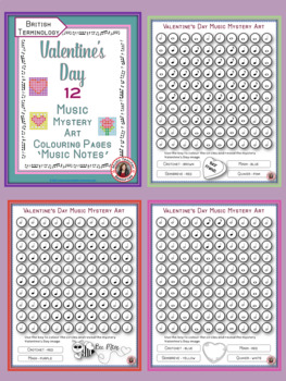 Valentine's Day Music Colouring Sheets:12 Colouring Pages: Music Mystery Art