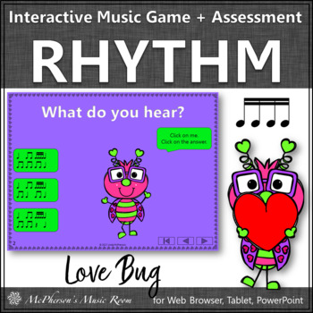 Valentine's Day Music Game: Sixteenth Notes Interactive + Assessment {Love Bug}