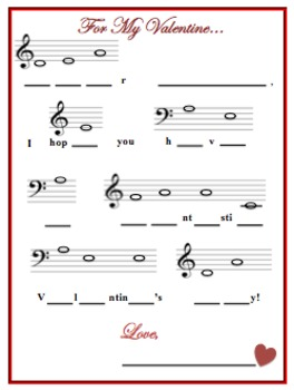 Valentine's Day Music Letter - Fill in the Missing Notes