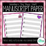 Valentine's Day Music Staff Manuscript Paper