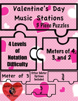 Valentine's Day Music Stations- 3 Piece Puzzles