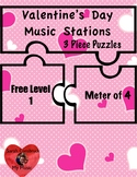 Valentine's Day Music Stations- 3 Piece Puzzles, Level 1