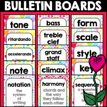 Valentine's Day Music Terms Flashcards, Posters, Centers, February, Rainbow