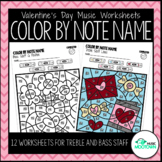 Valentine's Day Music Worksheets: Color by Note Name