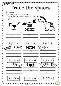 Valentine`s Day Music Worksheets {Lines-Space, High-Low}