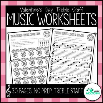 Valentine's Day Music Worksheets - Treble Staff