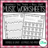 Valentine's Day Music Worksheets - Treble and Bass Staff Bundle!