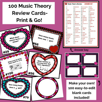 Valentines Day Music Worksheet w/100 Editable Task Cards & Slide Show