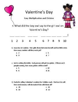 Valentine's Day Mystery Joke (Easy Mult and Div #'s 1-6)