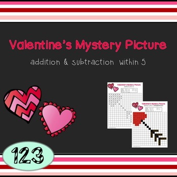 Valentine's Day Mystery Picture - Addition/Subtraction within 5