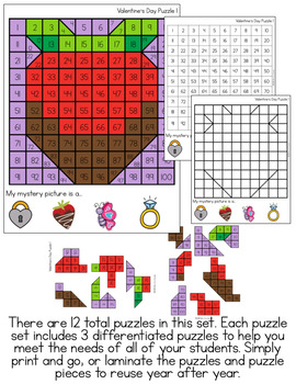 Valentine's Day Mystery Picture Hundred's Chart Puzzles