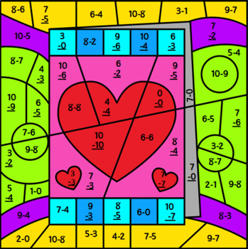 Valentine's Day Mystery Picture ~ Subtraction to 10 ~ Valentine's Day Card