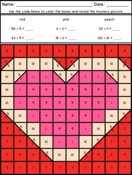 Valentine's Day Mystery Pictures Basic Multiplication and Division Facts