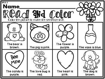Valentine's Day NO PREP Kindergarten Language Arts Pack