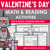 Valentine's Day NO PREP Math and Reading Activities  {PDF