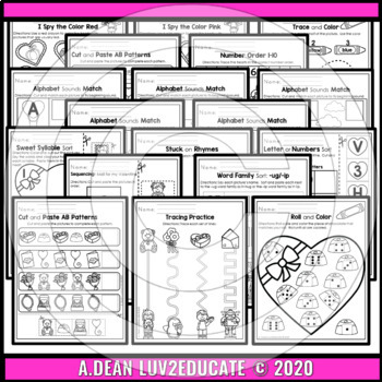 Valentine's Day NO PREP Preschool Packet