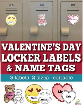 Valentine's Day Name Tags & Editable Locker Labels