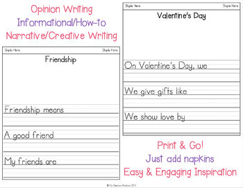 Valentine's Day Napkin Book Writing Prompts