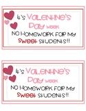 Valentine's Day - No Homework Pass