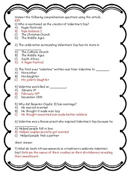 Valentine's Day Nonfiction Article - No Prep - Multiple Choice Questions - Key