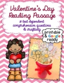 Valentine's Day Reading Comprehension Passage, Questions,