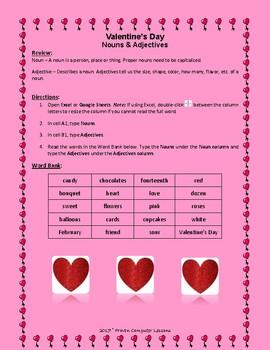Valentine's Day Nouns & Adjectives Freebie