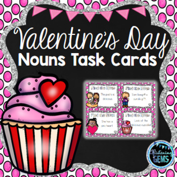 Valentine's Day Nouns Task Cards - SCOOT