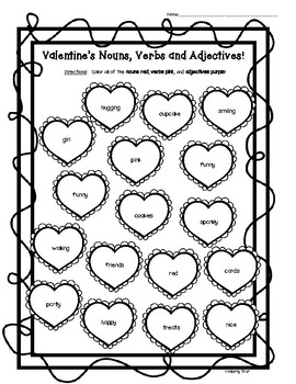 Valentine's Day Nouns, Verbs and Adjectives Worksheet