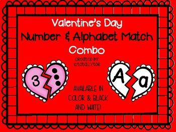 Valentine's Day Number & Alphabet Match