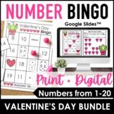 Valentine's Day Number Bingo 1-20   Number Sense   Digital