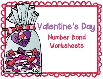 Valentine's Day Number Bonds Worksheet Set