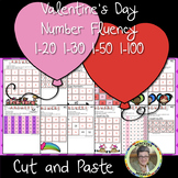 Valentine's Day Number Fluency 1-20 1-30 1-50 1-100 Cut and Paste Grade 1