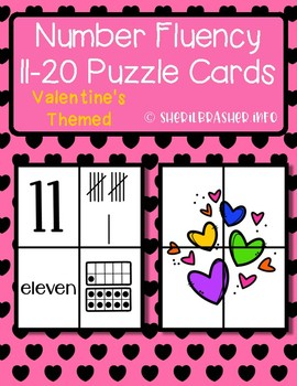 Valentine's Day Number Fluency Puzzle Cards | English | 11-20