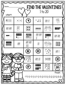 Valentine's Day Number Maze (1-20)