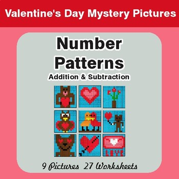 Number Patterns: Addition & Subtraction - Valentine's Math Mystery Pictures