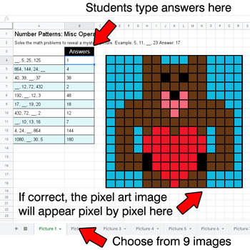 Valentine's Day - Number Patterns: Misc Operations - Google Sheets Pixel Art