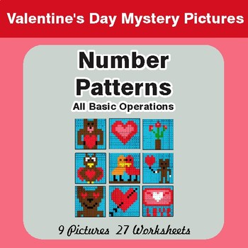 Valentine's Day: Number Patterns: Misc Operations -Math Mystery Pictures