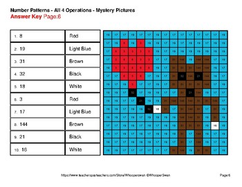 Valentine's Day: Number Patterns: Misc Operations -Mystery Pictures