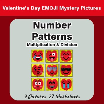 Valentine's Day: Number Patterns: Multiplication & Division - Math Mystery Pictures