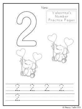 Valentine's Day Number Practice Pages 1-20
