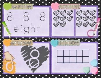 Valentine's Day Number Recognition 0-10 Math Center-Write, Count, Erase, Make