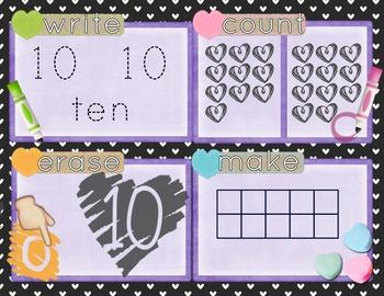 Valentine's Day Number Recognition 0-20 Math Center-Write, Count, Erase, Make