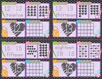 Valentine's Day Number Recognition 11-20 Math Center-Write, Count, Erase, Make