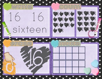 Valentine's Day Number Recognition 11-20 Math Center-Write