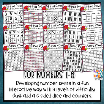 Valentine's Day Number Sense Games - 4 In a Row Game boards numbers 1-6 & 1-10