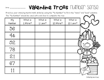 Valentine's Day Number Sense - Mental Math: 1 More, 1 Less, 10 More, 10 Less