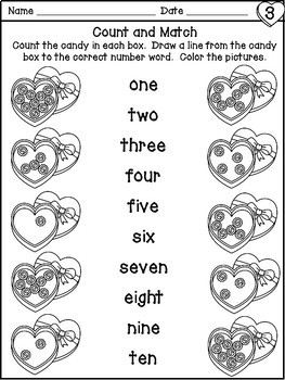 Valentine's Day Number Sense Worksheets